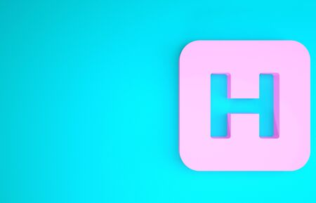 Pink Hospital sign icon isolated on blue background. Minimalism concept. 3d illustration 3D render Banco de Imagens