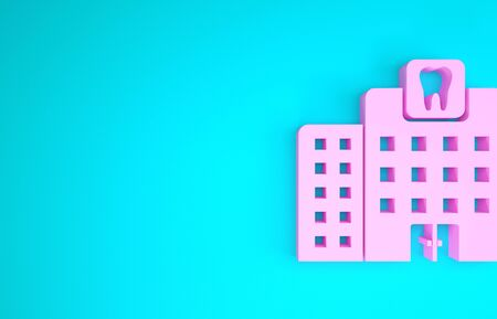 Pink Dental clinic icon isolated on blue background. Dentistry center symbol. Minimalism concept. 3d illustration 3D render
