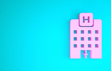 Pink Medical hospital building with cross icon isolated on blue background. Medical center. Health care. Minimalism concept. 3d illustration 3D render