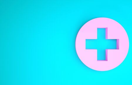 Pink Medical cross in circle icon isolated on blue background. First aid medical symbol. Minimalism concept. 3d illustration 3D render