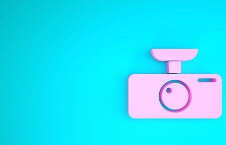 Pink Car DVR icon isolated on blue background. Car digital video recorder icon. Minimalism concept. 3d illustration 3D render Banco de Imagens