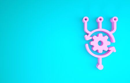 Pink Algorithm icon isolated on blue background. Algorithm symbol design from Artificial Intelligence collection. Minimalism concept. 3d illustration 3D render