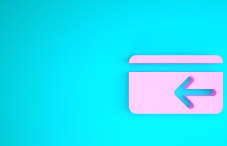 Pink Cash back icon isolated on blue background. Credit card. Financial services, money refund, return on investment, savings account. Minimalism concept. 3d illustration 3D render Reklamní fotografie - 133746420