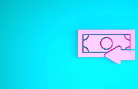 Pink Cash back icon isolated on blue background. Financial services, money refund, return on investment, savings account, currency exchange. Minimalism concept. 3d illustration 3D render Reklamní fotografie