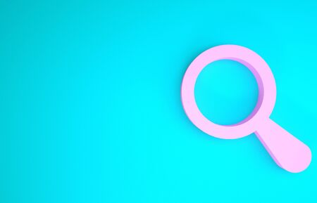 Pink Magnifying glass icon isolated on blue background. Search, focus, zoom, business symbol. Minimalism concept. 3d illustration 3D render