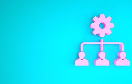 Pink Lead management icon isolated on blue background. Minimalism concept. 3d illustration 3D render
