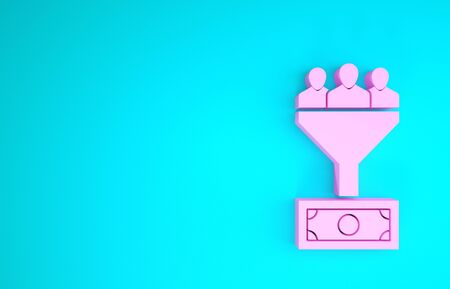 Pink Lead management icon isolated on blue background. Funnel with people, money. Target client business concept. Minimalism concept. 3d illustration 3D render