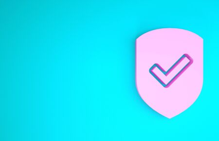 Pink Shield with check mark icon isolated on blue background. Protection symbol. Security check Icon. Tick mark approved icon. Minimalism concept. 3d illustration 3D render