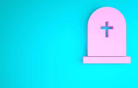 Pink Tombstone with cross icon isolated on blue background. Grave icon. Minimalism concept. 3d illustration 3D render