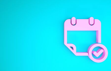 Pink Calendar with check mark icon isolated on blue background. Minimalism concept. 3d illustration 3D render Stok Fotoğraf