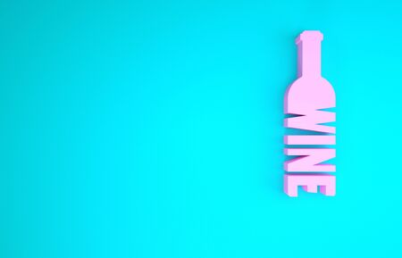 Pink Bottle of wine icon isolated on blue background. Lettering bottle of wine. Minimalism concept. 3d illustration 3D render