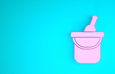Pink Bottle of wine in an ice bucket icon isolated on blue background. Minimalism concept. 3d illustration 3D render