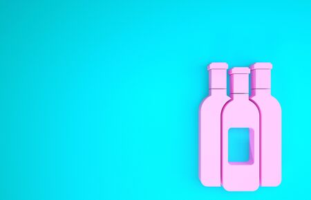 Pink Bottles of wine icon isolated on blue background. Minimalism concept. 3d illustration 3D render