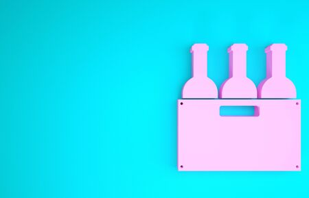 Pink Bottles of wine in a wooden box icon isolated on blue background. Wine bottles in a wooden crate icon. Minimalism concept. 3d illustration 3D render Stock Photo
