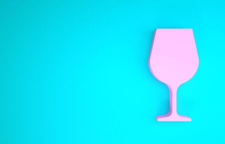 Pink Wine glass icon isolated on blue background. Wineglass sign. Minimalism concept. 3d illustration 3D render Stock Photo