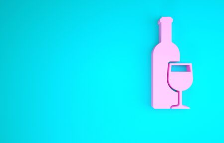 Pink Wine bottle with wine glass icon isolated on blue background. Minimalism concept. 3d illustration 3D render