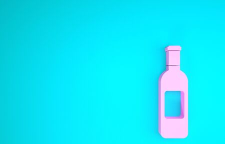Pink Bottle of wine icon isolated on blue background. Minimalism concept. 3d illustration 3D render Stock Photo