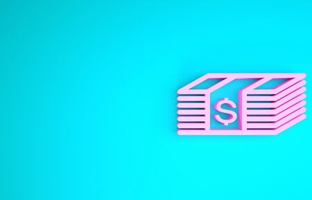 Pink Paper money american dollars cash icon isolated on blue background. Money banknotes stack with dollar icon. Bill currency. Minimalism concept. 3d illustration 3D render