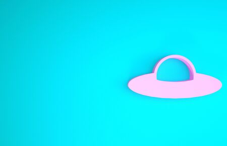Pink UFO flying spaceship icon isolated on blue background. Flying saucer. Alien space ship. Futuristic unknown flying object. Minimalism concept. 3d illustration 3D render