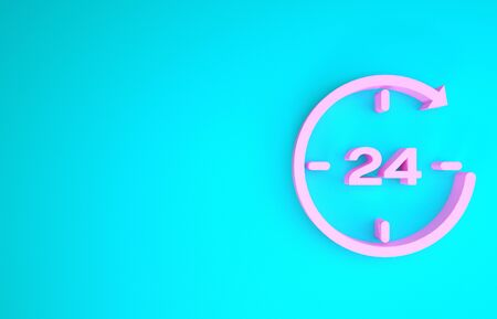 Pink Clock 24 hours icon isolated on blue background. All day cyclic icon. 24 hours service symbol. Minimalism concept. 3d illustration 3D render