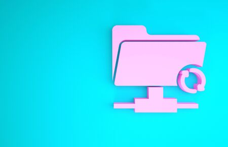 Pink FTP sync refresh icon isolated on blue background. Software update, transfer protocol, router, teamwork tool management, copy process. Minimalism concept. 3d illustration 3D render Stock fotó