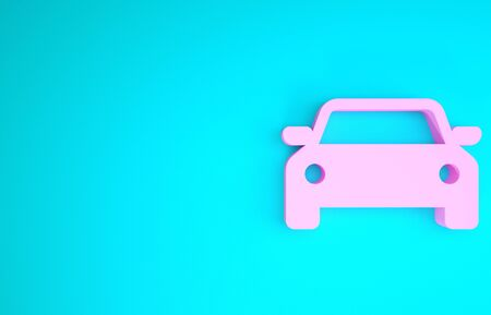 Pink Car icon isolated on blue background. Minimalism concept. 3d illustration 3D render
