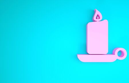 Pink Burning candle in candlestick icon isolated on blue background. Old fashioned lit candle. Cylindrical candle stick with burning flame. Minimalism concept. 3d illustration 3D render
