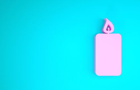Pink Burning candle icon isolated on blue background. Old fashioned lit candle. Cylindrical aromatic candle stick with burning flame. Minimalism concept. 3d illustration 3D render
