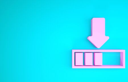 Pink Loading icon isolated on blue background. Download in progress. Progress bar icon. Minimalism concept. 3d illustration 3D render Stock fotó