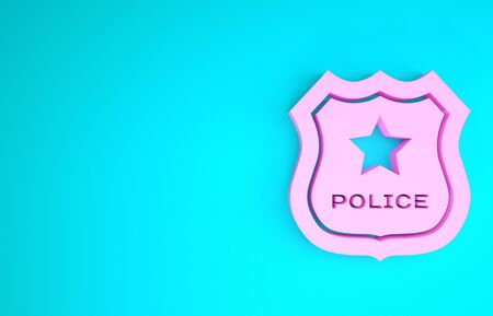 Pink Police badge icon isolated on blue background. Sheriff badge sign. Minimalism concept. 3d illustration 3D render Stok Fotoğraf