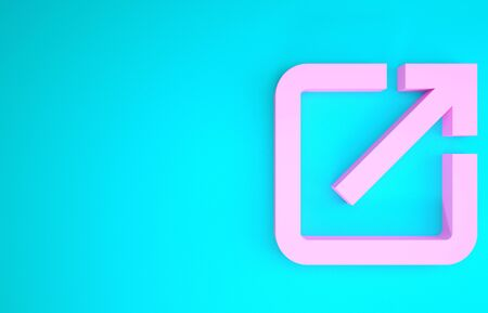 Pink Open in new icon isolated on blue background. Open another tab button sign. Browser frame symbol. External link sign. Minimalism concept. 3d illustration 3D render 스톡 콘텐츠