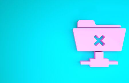 Pink FTP cancel operation icon isolated on blue background. Software update, transfer protocol, router, teamwork tool management, copy process. Minimalism concept. 3d illustration 3D render Reklamní fotografie