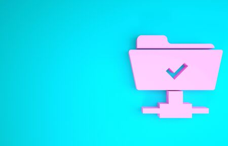 Pink FTP operation successful icon isolated on blue background. Software update, transfer protocol, teamwork tool management, copy process. Minimalism concept. 3d illustration 3D render Stok Fotoğraf - 133746643