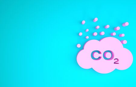 Pink CO2 emissions in cloud icon isolated on blue background. Carbon dioxide formula symbol, smog pollution concept, environment concept. Minimalism concept. 3d illustration 3D render