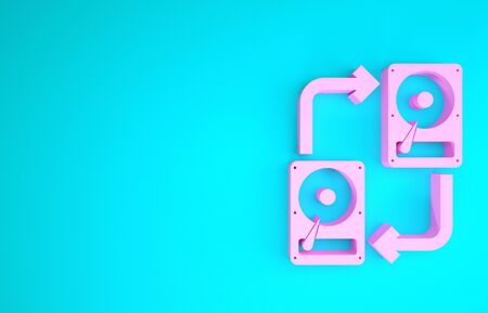 Pink A fixed data storage device hard disk with arrows, data copy icon isolated on blue background. Data exchange with hard disk drive. Minimalism concept. 3d illustration 3D render