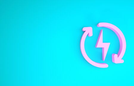 Pink Recharging icon isolated on blue background. Electric energy sign. Minimalism concept. 3d illustration 3D render
