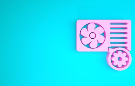 Pink Air conditioner and gear icon isolated on blue background. Adjusting app, service concept, setting options, maintenance, repair, fixing. Minimalism concept. 3d illustration 3D render