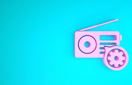 Pink Radio with antenna and gear icon isolated on blue background. Adjusting app, service concept, setting options, maintenance, repair, fixing. Minimalism concept. 3d illustration 3D render Stock fotó