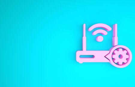 Pink Router and signal and gear icon isolated on blue background