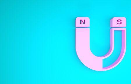 Pink Magnet icon isolated on blue background. Horseshoe magnet, magnetism, magnetize, attraction sign. Minimalism concept. 3d illustration 3D render