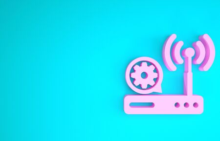 Pink Router and signal and gear icon isolated on blue background. Adjusting app, service concept, setting options, maintenance, repair, fixing. Minimalism concept. 3d illustration 3D render