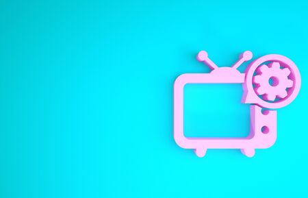 Pink Tv and gear icon isolated on blue background. Television service concept. Adjusting app, setting options, maintenance, repair, fixing. Minimalism concept. 3d illustration 3D render Stock fotó