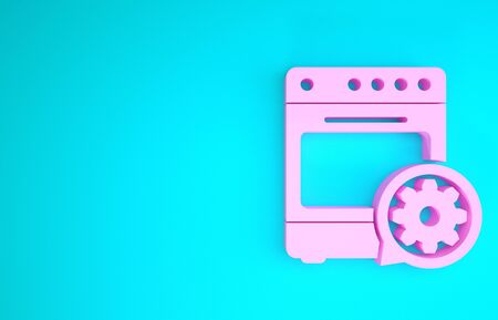 Pink Oven and gear icon isolated on blue background. Adjusting app, service concept, setting options, maintenance, repair, fixing. Minimalism concept. 3d illustration 3D render