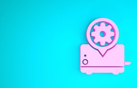 Pink Toaster and gear icon isolated on blue background. Adjusting app, service concept, setting options, maintenance, repair, fixing. Minimalism concept. 3d illustration 3D render