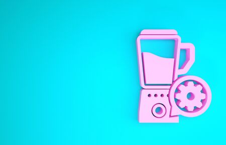 Pink Blender with bowl and gear icon isolated on blue background. Adjusting app, service concept, setting options, maintenance, repair, fixing. Minimalism concept. 3d illustration 3D render