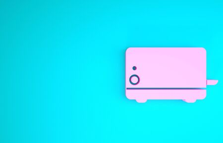 Pink Toaster icon isolated on blue background. Minimalism concept. 3d illustration 3D render