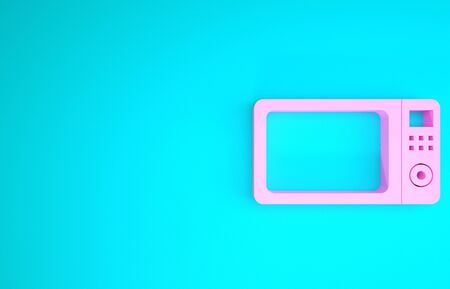 Pink Microwave oven icon isolated on blue background. Home appliances icon.Minimalism concept. 3d illustration 3D render