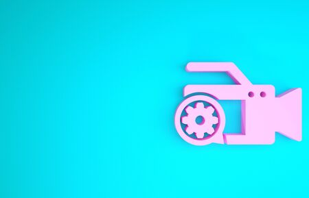 Pink Video camera and gear icon isolated on blue background. Adjusting app, service concept, setting options, maintenance, repair, fixing. Minimalism concept. 3d illustration 3D render