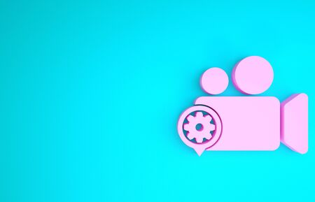 Pink Movie or Video camera and gear icon isolated on blue background. Adjusting app, service concept, setting options, maintenance, repair, fixing. Minimalism concept. 3d illustration 3D render