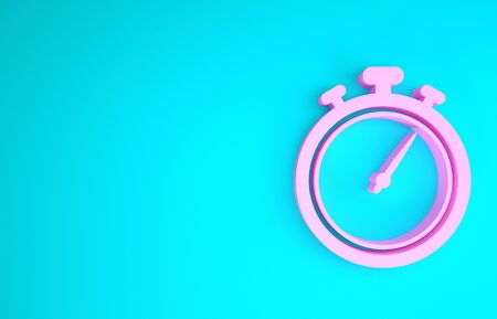 Pink Stopwatch icon isolated on blue background. Time timer sign. Chronometer sign. Minimalism concept. 3d illustration 3D render Reklamní fotografie